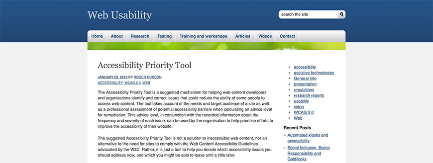 012 accessibility priority tool