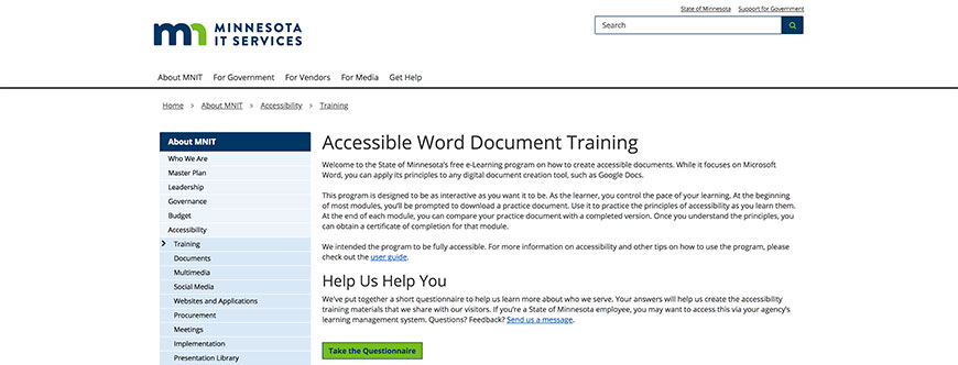Minnesota It Services Offers A Training Program On How To Make Word Doent Accessible Is An Entirely Free E Learning Course And The Principles