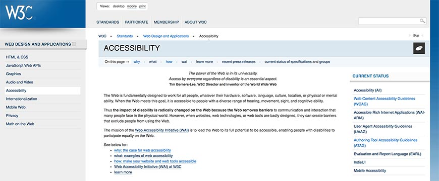 31 W3C Accessibility Standards