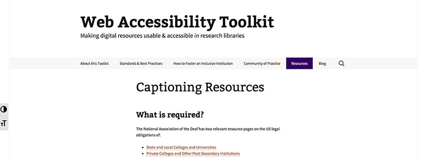 67 Web Accessibility Toolkit Captioning Resources