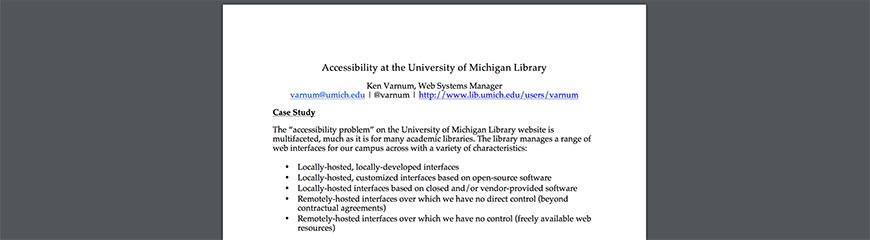 Accessibility at the University of MichiganLibrary