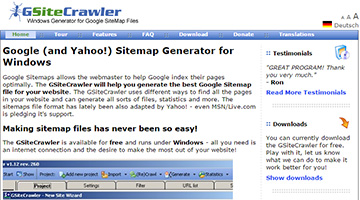 gsitecrawler is a free windows program that lets you create google sitemap files for your website if you have an older computer and you are looking for a