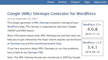 Google (XML) Sitemaps Generator for WordPress