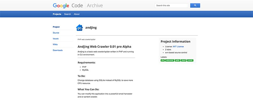 andjing website crawler