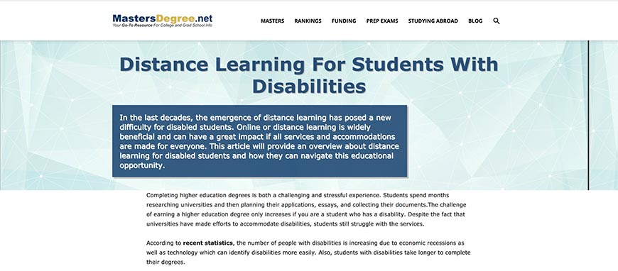 distance learning for students with disabilities