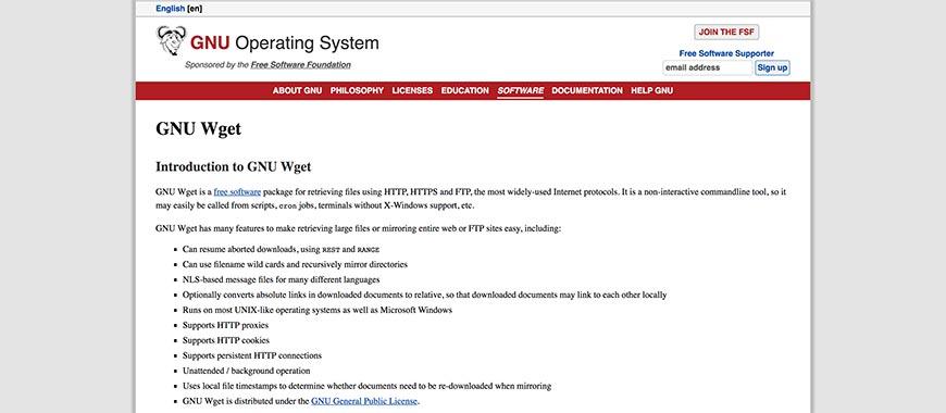gnu wget website crawler