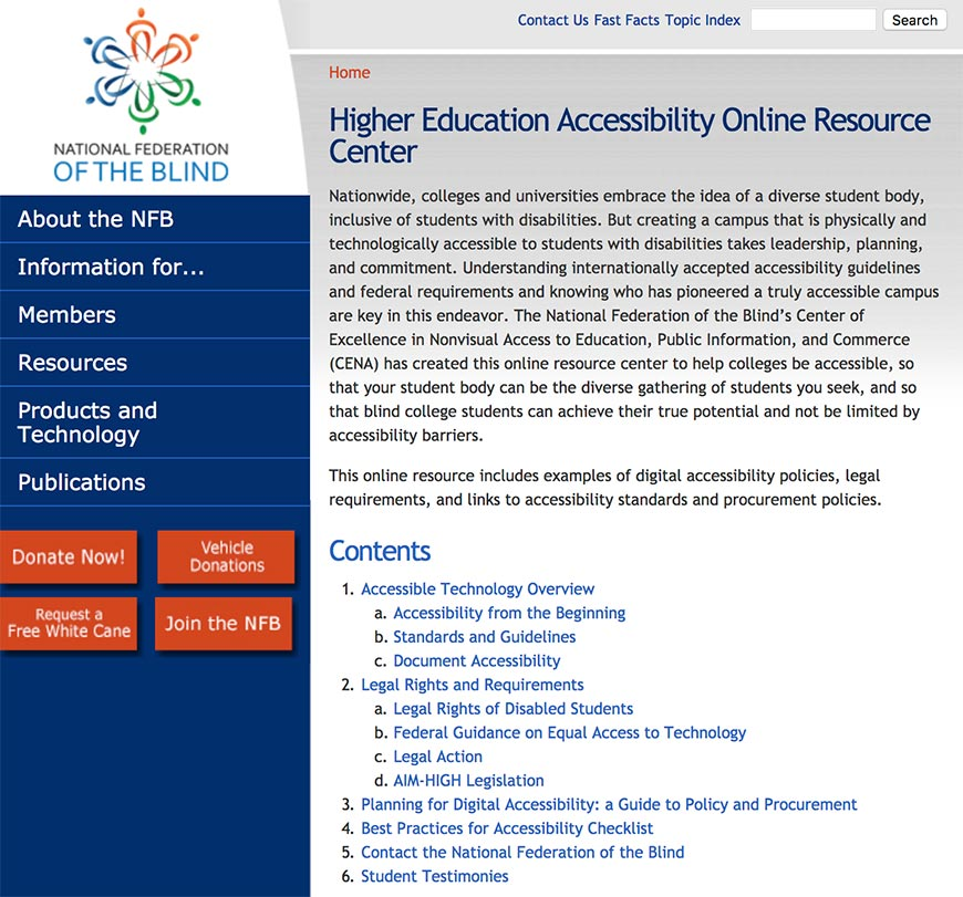 higher education accessibility online resource center