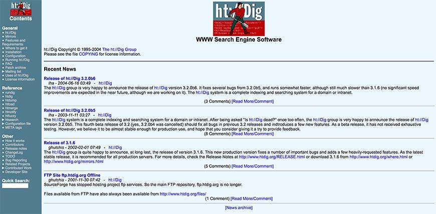 htdig website crawler