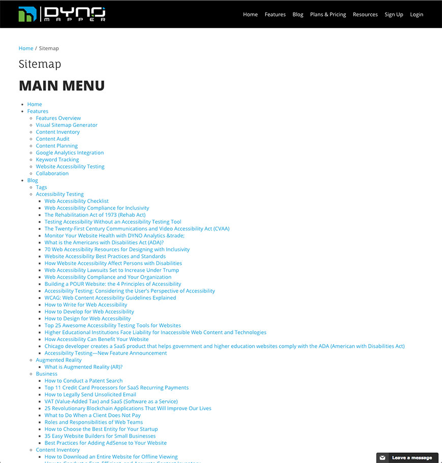 html sitemaps example