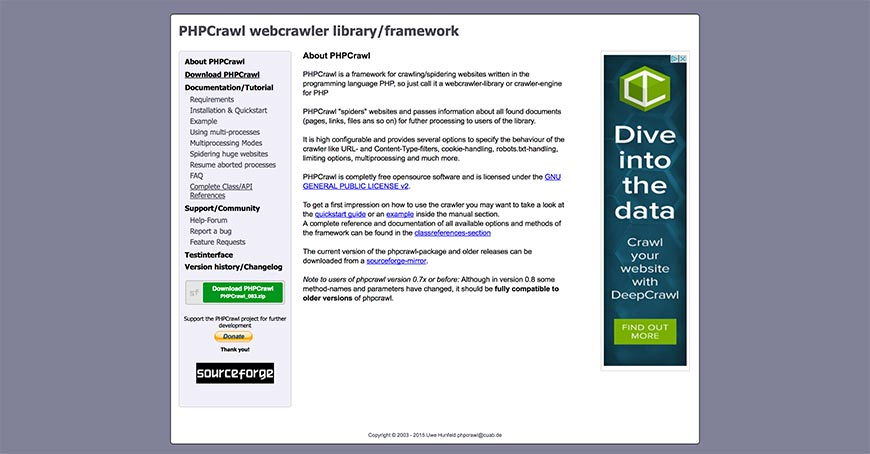 phpcrawl website crawler