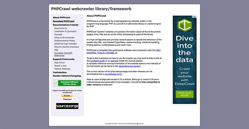phpcrawl website crawler