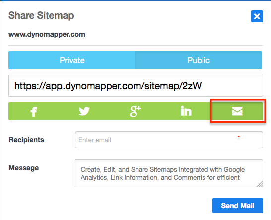 Share Sitemaps via Email