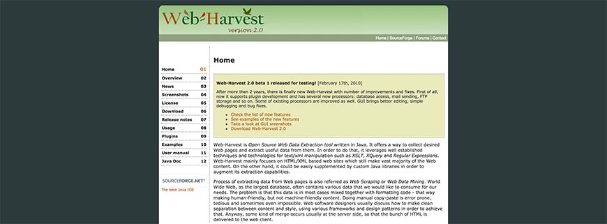 web harvest website crawler